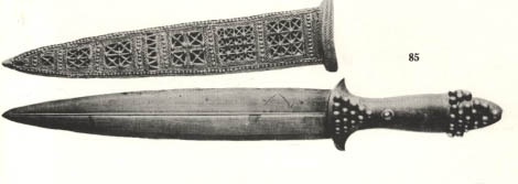 14e - gold dagger & sheath, Ur 2,450 B.C., these giant mixed-breed kings were found in Mesopotamia, but spread as the gods spread, all over the planet, kings & rulers such as Alexander the Great claimed to be mixed-breeds appointed to kingship by god himself, & so on with thousands of others