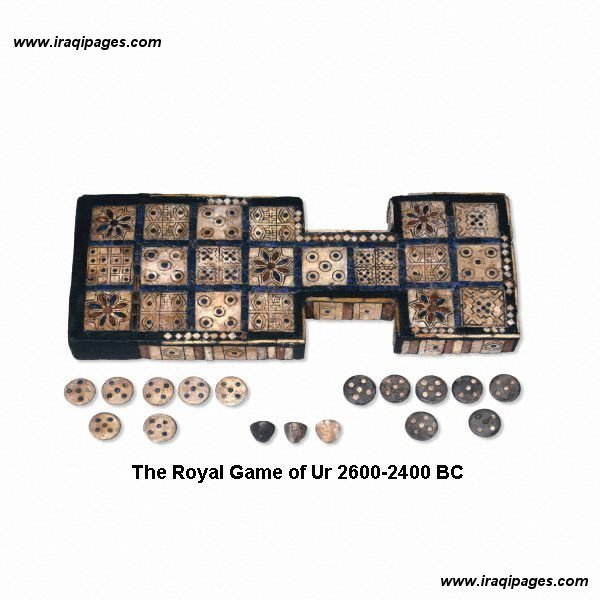 16a - board game, 2,600 B.C., in Nannar's great metropolis of Ur, many firsts in many areas of recreation, music, games, contests, etc., etc.