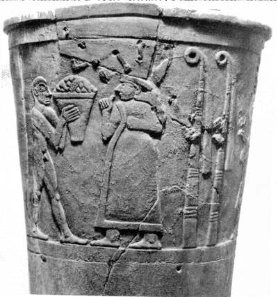 2b - Uruk artefact of an offering scene to Inanna, the goddess everyone knows, young Inanna married Enki & Ninsun's son, Dumuzi the Shepherd, after Dumuzi's death, Inanna started espousing early mixed-breed giant kings, one after the other, for thousands of years she kept on doing the same thing, a time in our long forgotten past, when the sons of god(s) had sex with the daughters of men, also goddess had sex with the sons of men