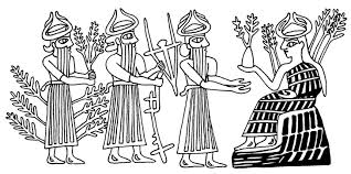 2c - Haia, Enlil, unidentified god, & Nisaba, when the gods did the work, Enlil farming in the Eden, Enlil's in-laws were in charge of grains & the stores to dispense them, his son Nannar raised the sheep & cow herds in Ur, Mesopotamia was the Land of the Gods