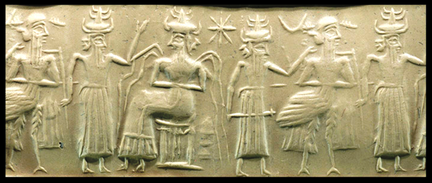 "2h - Enki & his hybred experiments, Enki mixing DNA of different species on Earth, to try to find a suitable ""worker"" to replace the burden of the gods, all experiments for 40,000 years fell short of the goal"