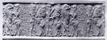 2u - seal with Enheduanna's name on it, scene from tales of Gilgamesh, SEE GILGAMESH TEXTS UNDER ANU'S CITY OF URUK KINGS