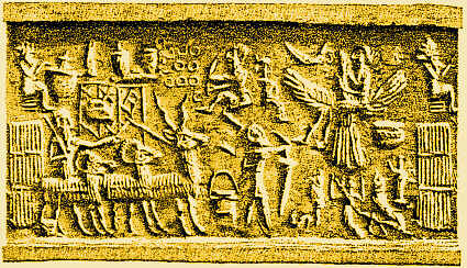 """3 - Kish King Etana in flight, the eagle - pilot lifts off for Heaven - planet Nibiru, the moon crescent symbol of Utu's father Nannar, earthling & animals look on as the giant mixed-breed king is lifted-off the Earth, headed for Heaven - Nibiru, to see god the father, King Anu, it was Anu's offspring of gods that colonized Earth for planet Nibiru's benefit, it was a time in our long forgotten past, that his """"sons of god came down from Heaven"""", & then fashioned """"man into their image, & in their likeness"""", to be their workers"""