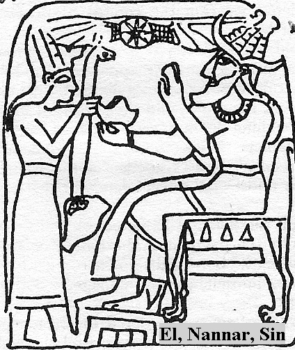 """4a - Nannar - Sin - El - etc., mixed-breed giant king stands before Nannar on the throne of Ur, """"Nannar"""" is his Sumerian name, """"Sin"""" is his Babylonian name, """"El"""" is his Biblical name for the god of Ur, Abraham, Isaac, & Jacob"""