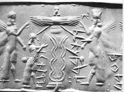 """5g - Enki sends his """"Model Man"""" Adapa, """"the worker"""", with his young sons Dumuzi & Ningisgzidda, to visit Anu, the gods father in Heaven - planet Nibiru, Adapa was the 1st Earthling to actually blast-off planet Earth, & go to another planet where advanced life exists, the masters (gods) of earthlings, later Biblical hero Enoch made the same trip, & Kish king Etana, & all the rest who ascended to Heaven"""
