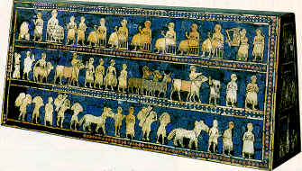 "6b - Standard of Ur, war comes to Nannar's city of Ur, the nuclear war brought unexpected consequences, the ""evil winds"" came, poisoning the air in all of Mesopotamia, literally bringing Ancient Mesopotamia of tens of thousands of years to an end, SEE ERRA & ISHUM TEXT & THE LAMENT TEXTS FOR THE STORY & THE EVACUATIONS OF THE GODS FROM THEIR CITIES"