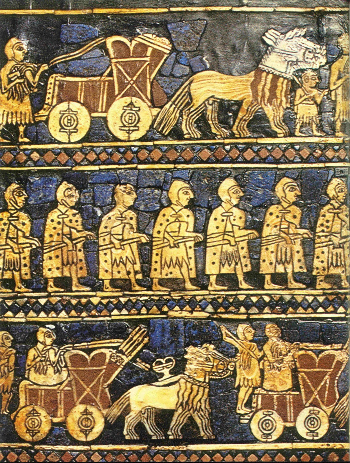 6c - war marching scene, the gods directed the kings to war against other kings not loyal to the that particular patron god, alien giant cousins using earthlings to fight their battles, sometimes the gods would partake in the actual battle him or herself, using powerful alien weapons to soften the defences, & assure a favorable outcome, for instance Inanna - the Goddess of War fought along side with kings, SEE TEXTS ON KINGS