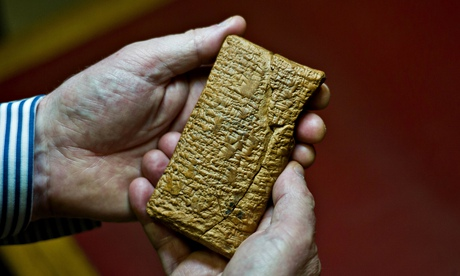 Mesopotamian tablet, construction of the Ark, Enki & his helper snake god decide to build a large submersible boat, with the best chance of surving Enlil's coming Flood by sinking well underneath the tidal wave