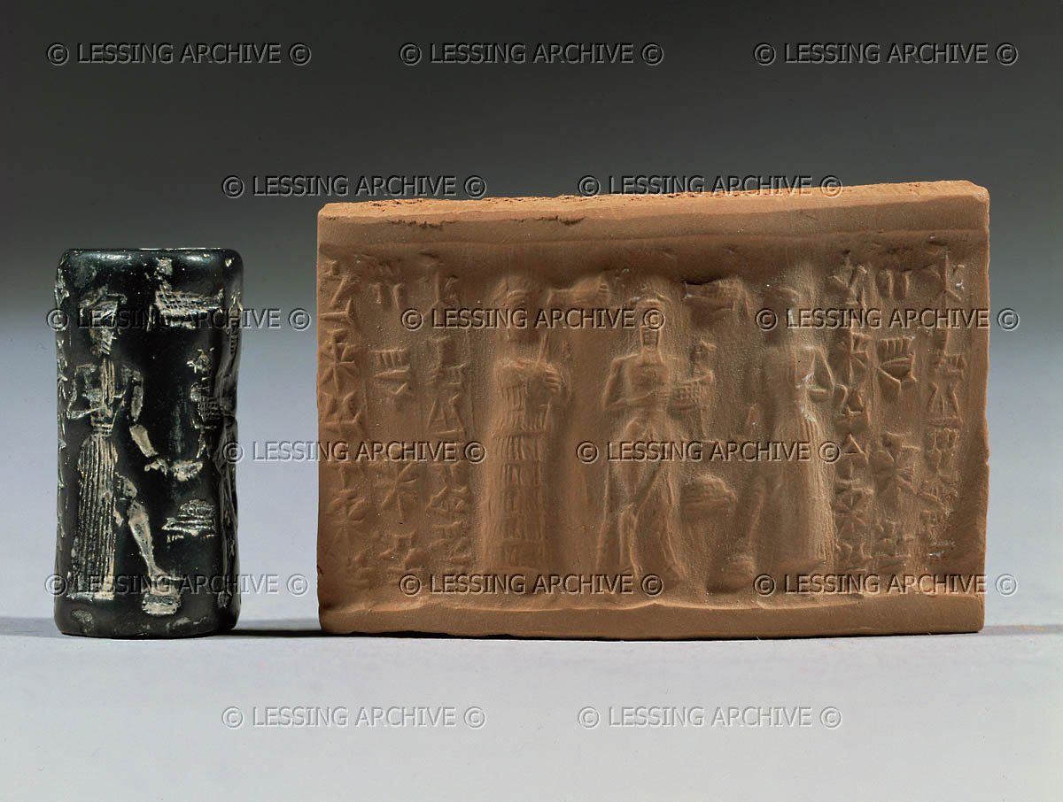 Ninsun, daughter to Ninurta & Bau, Enkidu, a creation of Ninhursag & Enki's to be a companion for unmatched king Gilgamesh, & Utu, the god in the mountains, similar to the Biblical god in the mountains, a scene from the tales of Gilgamesh, SEE GILGAMESH TEXTS ON ANU'S PAGE UNDER URUK KINGS