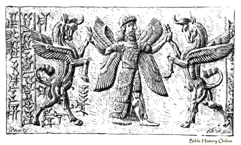 5fa - Ninurta, Assyrian cylinder seal of Ninurta battles against demons