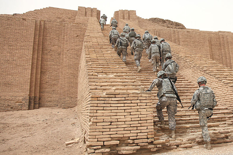 US soldiers climbing the Stairway to Heaven, still standing after thousands of years, Nannar's home, easily controlled earthling traffic of those who came & went, aircraft landings on top were far out of the way of mankind below, so were the resident alien giant gods