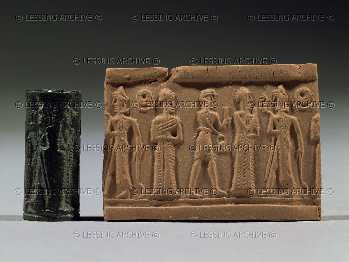 unidentified goddess, a mixed-breed, Nannar, & Ninurta holding alien cycle sword weapon, the mixed-breed pulls duty as cup bearer to the gods
