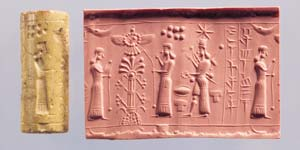 unknown goddess, Ninhursag, & Inanna, moon crescent symbol of Nannar over his spouse Ningal?, Enlil's 7-planet symbol over Ninhursag, & Inanna's newly inherited 8-pointed star symbol over her head