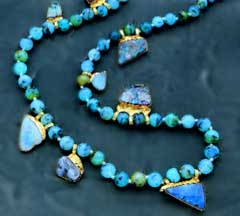 13a - lapis-lazuli necklace, valuable artefacts from Ur, lapis-lazuli was the Goddess of Love Inanna's favorite stone, Marduk built an entire entranceway for her in Babylon entirely made of this beautiful blue-hued stone, the wall is preserved in a museum