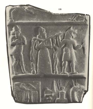 15 - Akkadian boundary stone, 2000 + B.C., Enki with his mixed-species DNA experiments, attempting to fashion workers by just mixing animals together, they didn't work out & couldn't reproduce, later Enlil ordered his son Ninurta to kill them off
