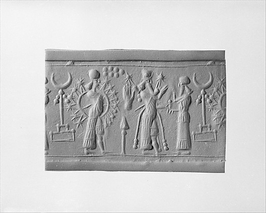 4q - Inanna, Ninurta holding a mace, & Nannar giving a word of caution, Nannar's moon crescent symbol, Inanna's 8-pointed star symbol of Venus - Goddess of Love, & Enlil's 7-planet symbol for Earth (7th planet entering our solar system from outer space, Venus is the 8th)