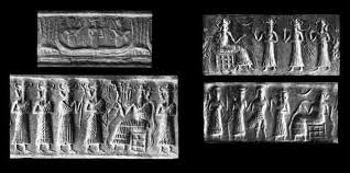 6e - Enki & his sons in the Abzu; on bottom left, Ninagal, Gibil, Nergal, Ningishzidda, & father Enki, artefacts of the gods are being destroyed by Radical Islam, attempting to eliminate ancient historical evidence of contradicton to the teachings of their 7th century prophet