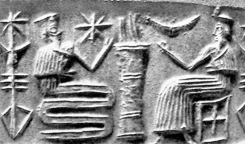 8d - 8d - Enki & his helper snake god discuss in detail what to do, which animals to save, which plants to save, etc., & how to store them in a submersible boat, a boat that will be under the great tidal wave Enlil will be sending
