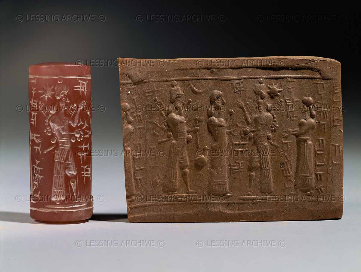 9g - Adad, Ninhursag, Inanna, & an unidentified goddess, a scene from ancient Mesopotamia, when the giant gods were on Earth in those days, & the days after, when the sons of god(s) came down to Earth from Heaven, colonized it as their own, built ziggurat houses for themselves, & later established their cities with earthling workers