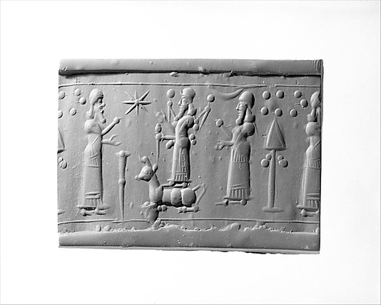 """Enlil, Adad holding a mace, & Nannar, gods cautioning angry gods against warring amongst themselves, a scene from our long forgotten past in Mesopotamia, the place where """"modern man"""" began, artefacts of the giant alien gods are being destroyed by Radical Islam, attempting to eradicate ancient historical evidence that directly contradicts the 7th century teachings of their prophet"""