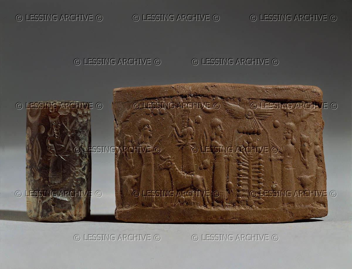 8d - Ninhursag & Adad, Ninhursag & unidentified goddess, with the flying disc symbol for planet Nibiru above the Tree of Life, thousands of ancient artefacts of giant alien gods & goddesses from our long forgotten past, are being destroyed by Radical Islam, attempting to eradicate historical contradictory evidence to the 7th century teachings of their prophet