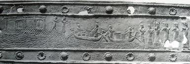 15r - from Shalmaneser's gate, Assyrian transport of goods across the waters, a scene in time that was important enough to create such an artefact, non-controvercial artefacts are easily found in museums, the controvercial ones of the giant alien gods are usually not displayed, kept hidden from common men & women, power-broker groups want them hidden, other elite groups pass them off as myths, some groups like earlier Christians wanted, & current radical Muslims want them all destroyed