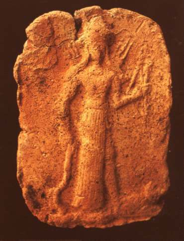 1c - ancient artefact of Inanna, Goddess of Love & War, holding a  Liberty Torch & sword