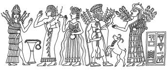 5 - Inanna, unidentified giant mixed-breed, Enlil's spouse Ninlil, her father Haia, & her mother Nisaba, gods of grains