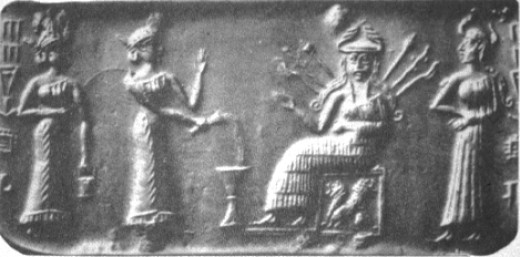 3b - 2 unidentified goddesses, seated Inanna on her Uruk throne, & her assistant Ninshubur, Inanna lived in Uruk where Anu's ziggurat E-Anna was built for his Earth visits, after Anu quit visiting Earth Colony, he gave his house - ziggurat, his city of Uruk, his flying disc, & his 8-pointed star symbol to Inanna, he later gave Inanna his Bull of Heaven which she wanted to kill Gilgamesh with, the 5th mixed-breed giant king of Uruk, SEE GILGAMESH & THE BULL OF HEAVEN TEXT ON THIS PAGE UNDER URUK KINGS