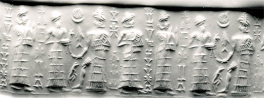 5ab - Ereshkigal, younger sister Inanna, their father Nannar with his goat sacrifice, & their brother Utu