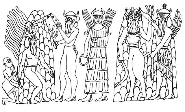 5bb - mixed-breed earthling  unidentified god, Adad, Inanna, the Bull of Heaven, & Utu
