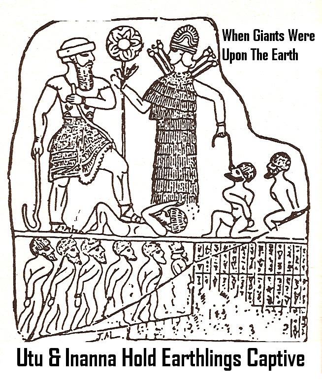 "4a - giant alien god Utu & his sister Inanna the Goddess of War, Inanna holds disloyal prisoners with a rope put through a nose ring, & binding their hands behind their backs, impressive display of the might the alien giant gods held & enforced over the earthlings, ""don't make the gods angry"" was the old saying"