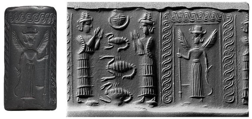 4k - 2 unidentified goddesses, possibly Inanna & her sister Ereshkigal, & Inanna standing with wings in front of her house - temple gate, symbols of zodiac signs & of the gods above, the Inanna with wings scene, is perhaps where she just landed at her home - temple