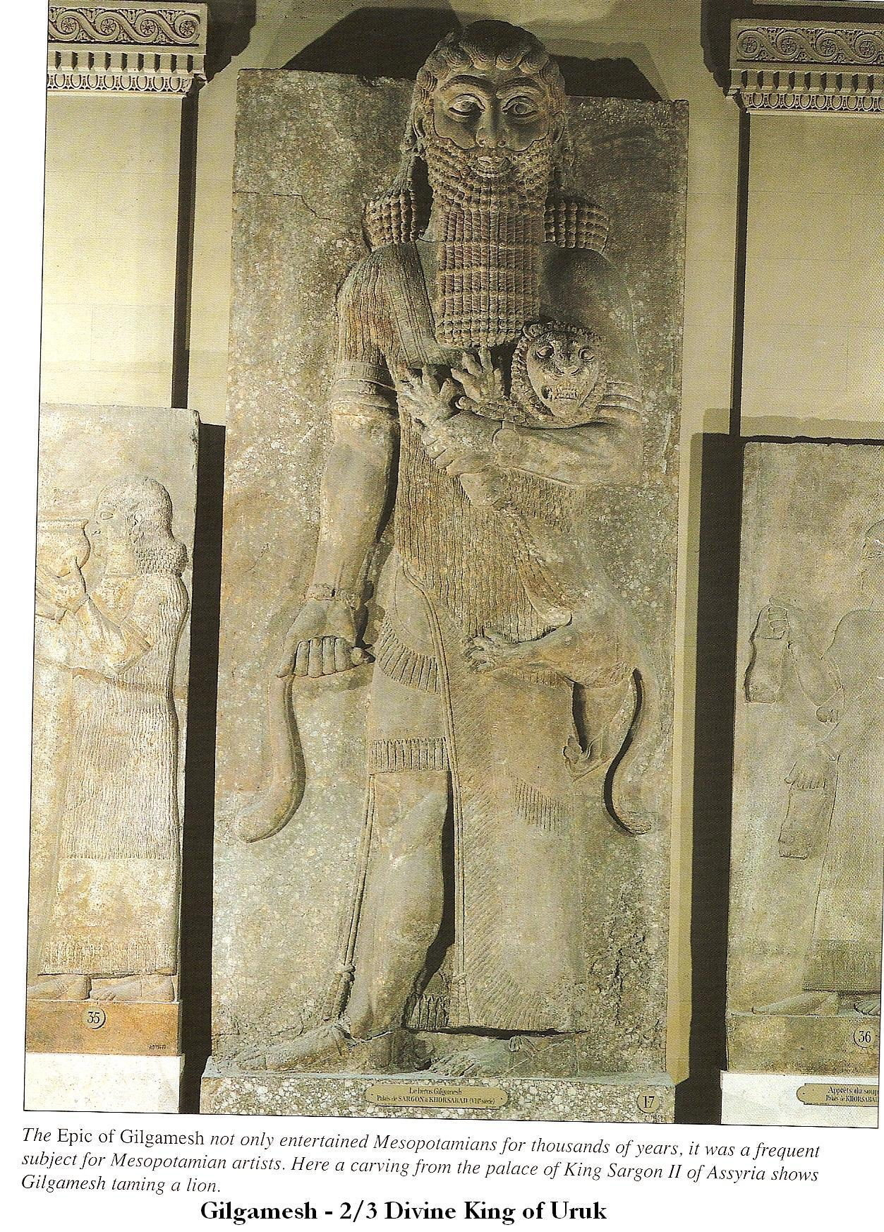 6aa - giant Uruk King Gilgamesh, two-thirds divine, one of many giant mixed-breed sons of Ninsun & her mixed-breed spouse Lugalbanda, Lugalbanda was king of Uruk for 1,200 years, son Gilgamesh ruled 126 years, they were much bigger, stronger, faster, smarter, & lived longer than the non-mixed earthlings