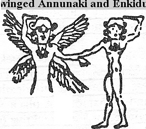 6f - Inanna & Gilgamesh, giant mixed-breed King Gilgamesh, his mother the goddess Ninsun, & Enkidu, a companion to Gilgamesh, a wild creature creation of Ninhursag & Enki's, fashioned to protect & accompany Gilgamesh on his far away travels