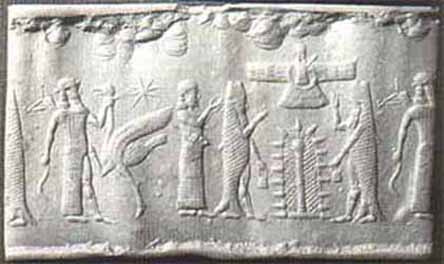 4f - Enki & crew of 50 land on planet Earth, greet waiting Alalu, while Anu looks on from above, communicating with his son on Earth from their planet Nibiru, Enki was to verify Alalu's statement that he found gold