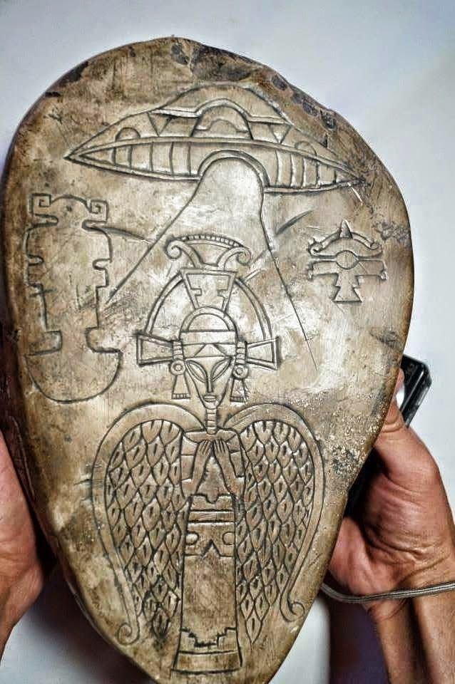 1i - Aztec artefact of alien pilot & space-craft, flying saucer, the aliens, the gods, were well known & memorialized in stone artefacts, scenes once witnessed by earthlings & recorded for future understanding