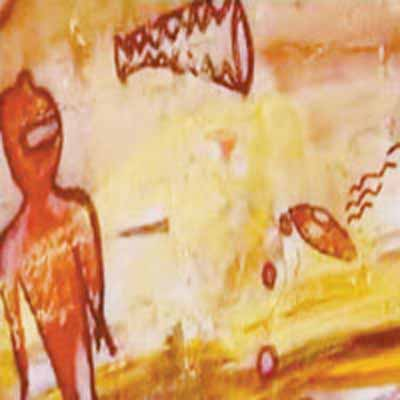 1l - ancient cave art of alien sky-ships, sometimes depicted in areal battles, discovered in India from ancient times when the gods were commonly seen by early Indian earthlings