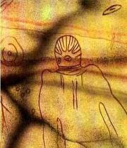 1i - ancient cave painting of alien craft & alien walking upon the Earth, found in North Africa, appx. 6,000 B.C., when the chariots of the gods brought alien entities down to Earth from the heavens