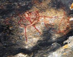 1j - cave painting artefact of a flying craft, found in India are ancient scripts of vimanas, depictions of flying machines, art, & rock carvings, even the temples are carved into mountains in the shape of the alien crafts (vimanas)