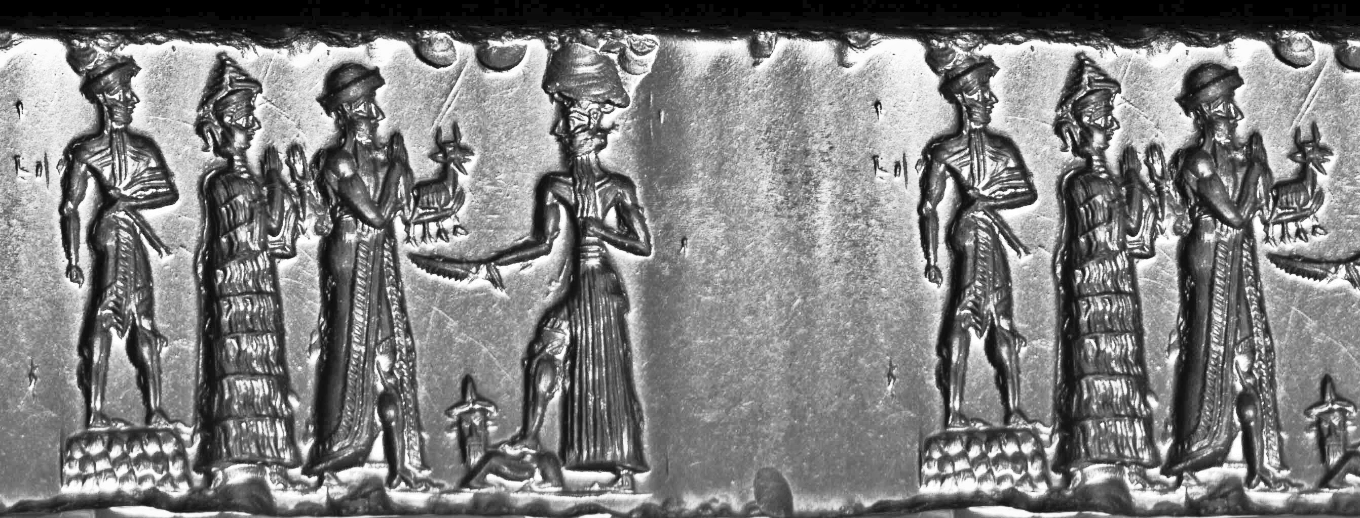 5u - mixed-breed high-priest of Ur standing upon Nannar's temple, his probable mother Ninsun, Nannar the patron god of Ur, & Nannar's son Utu, the Biblical hero Abraham's father Terah was also the high-priest of Ur, serving the same giant alien god calle Nannar by the Mesopotamians, called El by the Biblical authors
