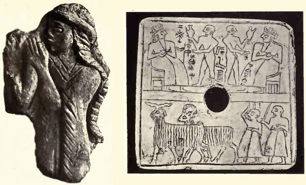 "young goddess Inanna on left, Babylonian tablet artefacts, Inanna must have had light colored hair, the earthlings were called by the alien gods the ""black-headed"""