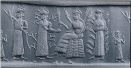 2b - Enlil, the Earth Colony Commander, his parent in-laws Haia, the Barley God & God of the Stores, his spouse Nisaba, the Goddess of Grain & Scribes, & their daughter & Enlil's spouse Ninlil