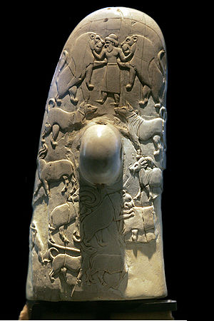 2i - ancient ivory-carved artefact of animal herds in the pens in the city of Ur, protected by the giant alien god Nannar, patron god of Ur, the city of Biblical Abraham