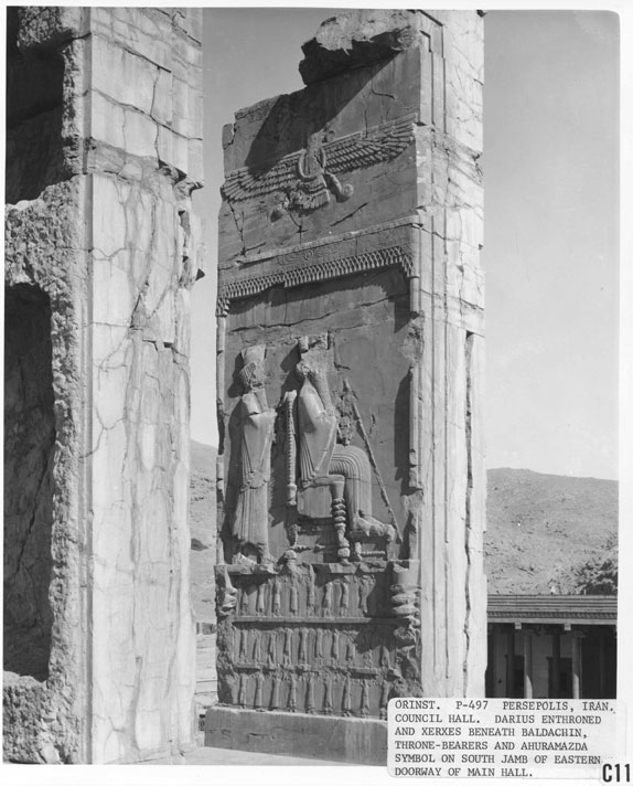 2l - giant mixed-breed made Persian King Darius, & giant alien god Ashur hovering above, protecting & directing him at all times throughout his tenure as king