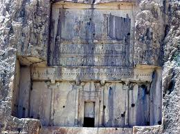 3x - Tomb of Arta-Xerxes, descendant king of Cyrus the Great, mixed-breed offspring of the alien gods made kings, giant god in flying disc above his protected king