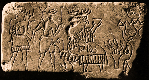 5d - ancient artefact of giant mixed-breed earthling carrying a dinner offering to giant alien goddess Ninhursag, lead by an unidentified alien god