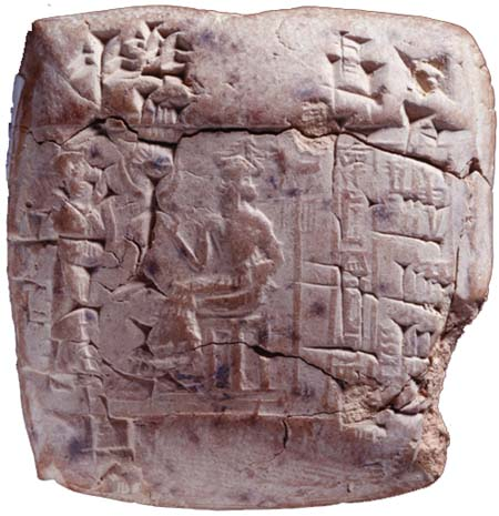 7 - giant alien god Ninurta laying down orders to an unidentified mixed-breed king, orders from god given to the kings, who would pass them on to the people living in the cities below the ziggurat homes of the giant alien gods
