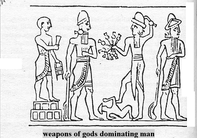 7g - high-priest of Ur, Nannar, the patron god of Ur, Ninurta with alien high-tech weaponry, standing upon a much smaller earthling, & their father Enlil, the Earth Colony Commander, high-priest was a position of authority over other earthlings, created for alien-earthling mixed offspring, like the extended years of living for Biblical Abraham 20 generations of his previous ancesters