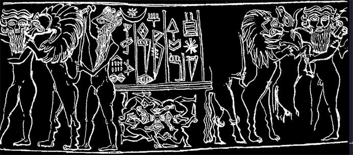 """non-modified earthling, wild beast, & early """"modern man"""" with a knife to the beast, ancient Mesopotamian artefact depicting the knowledge that all three  creatures existed on Earth at the same time"""